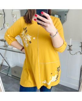 LARGE SIZE TUNIC PRINTS 5257 MUSTARD