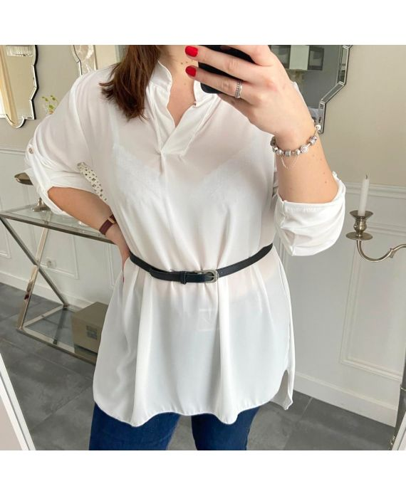 LARGE SIZE TUNIC + BELT 5254 WHITE