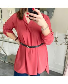 LARGE SIZE TUNIC + BELT 5254 RASPBERRY
