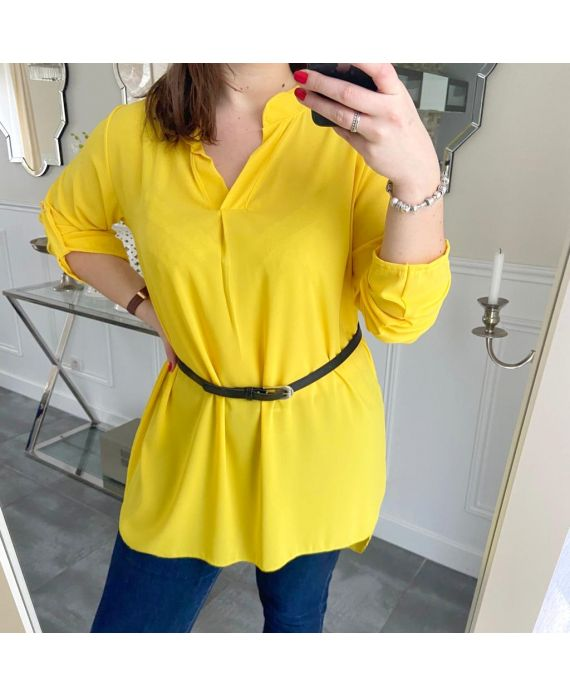 LARGE SIZE TUNIC + BELT 5254 YELLOW