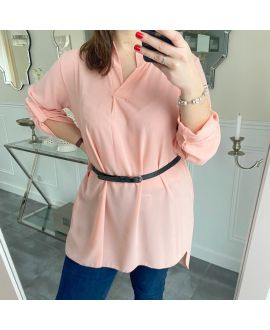 LARGE SIZE TUNIC + BELT 5254 ROSE