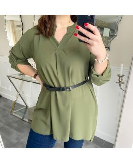 LARGE SIZE TUNIC + BELT 5254 MILITARY GREEN