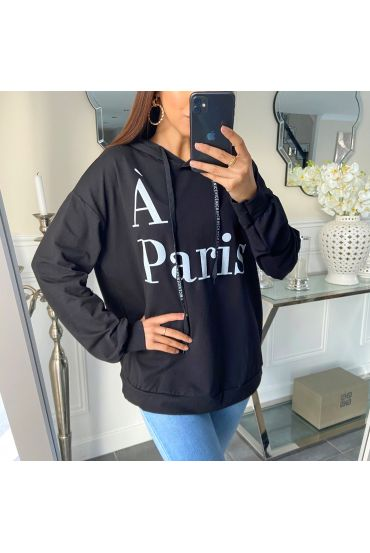 SWEATER HOODIE PARIS 5267 BLACK