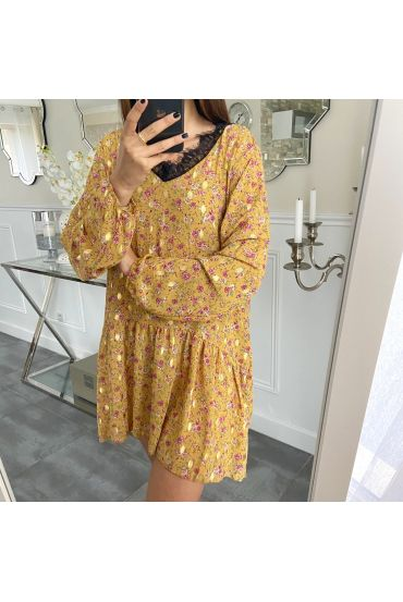 DRESS PRINTS GOLDEN LACE 5286 MUSTARD