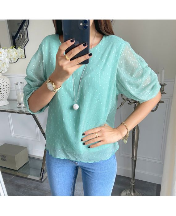 TOP MANCHES BOUFFANTES + COLLIER 5203 VERT PASTEL