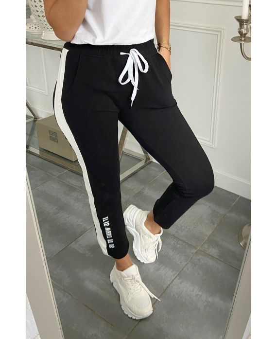 PANTS JOGG BAND GENUINE LEATHER IT IS WHAT IT IS 5282 BLACK
