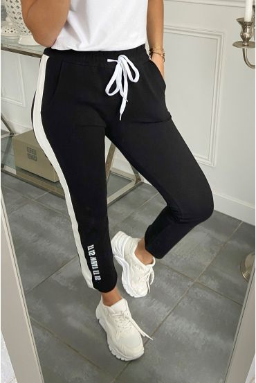 PANTALON JOGG BANDE SIMILI CUIR IT IS WHAT IT IS 5282 NOIR
