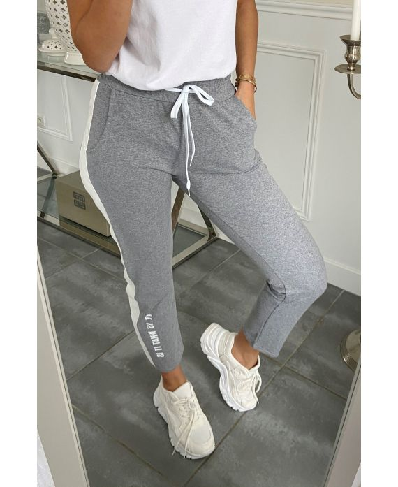 PANTS JOGG BAND GENUINE LEATHER IT IS WHAT IT IS 5282 GREY