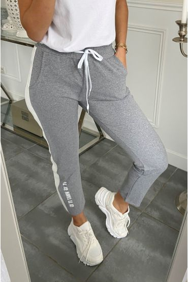 PANTALON JOGG BANDE SIMILI CUIR IT IS WHAT IT IS 5282 GRIS