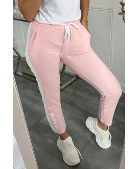 PANTS JOGG BAND FAUX LEATHER IT OS WHAT IT IS 5282 PINK