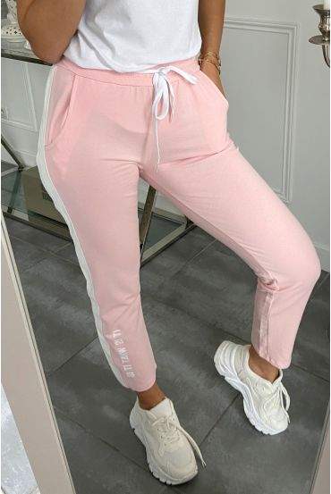 PANTALON JOGG BANDE SIMILI CUIR IT OS WHAT IT IS 5282 ROSE