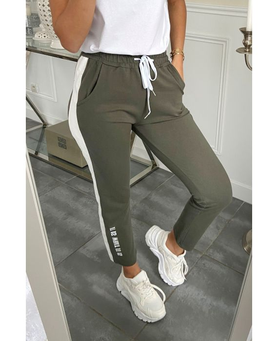 PANTS JOGG BAND FAUX LEATHER IT OS WHAT IT IS 5282 MILITARY GREEN