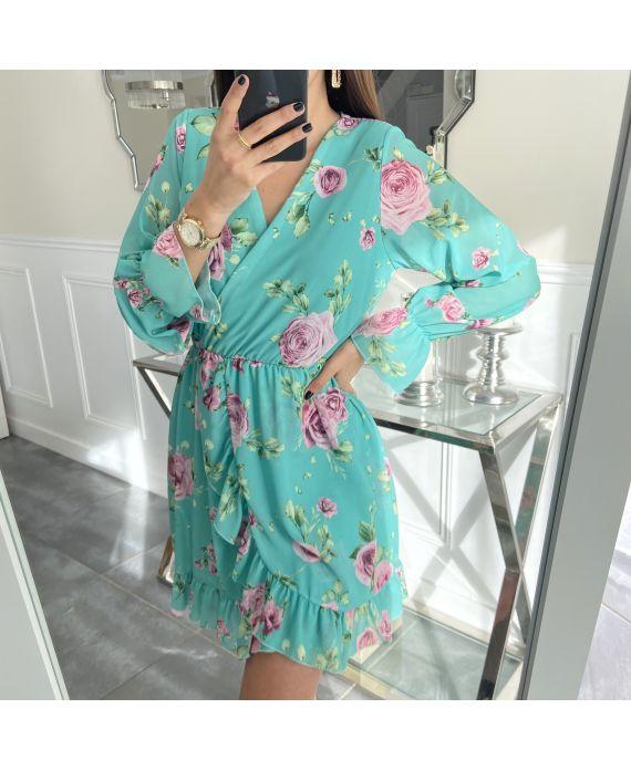 DRESS FLOWER WALLET 5299 BLUE LAGOON