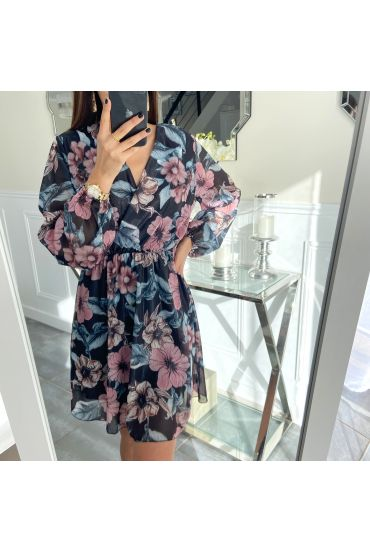 ROBE BRILLANTE FLOWERS 5309 NOIR