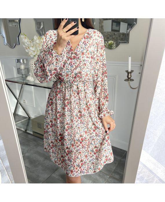 DRESS FLOWER BELT BUCKLE 5306 WHITE