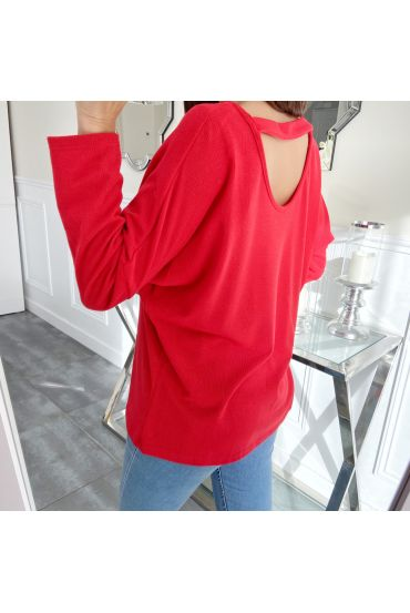 T-SHIRT OPEN BACK + COLLANA 5314 ROSSO