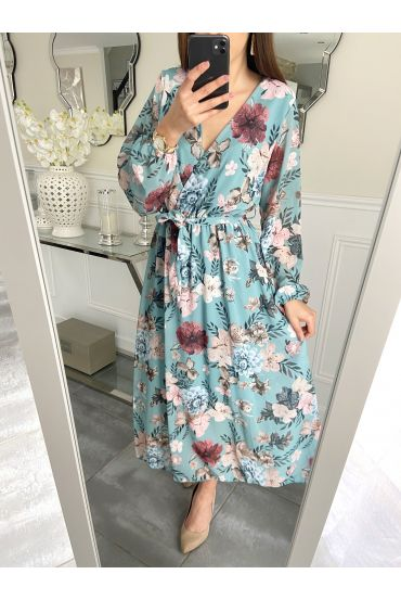 LONG DRESS FLORAL 5259 BLUE LAGOON