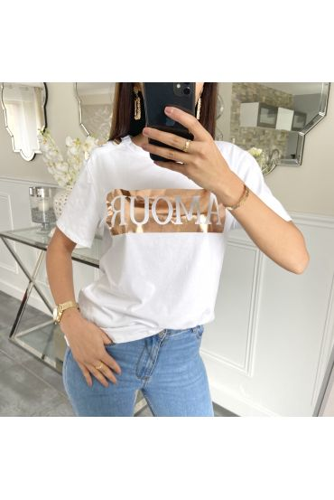 T-SHIRT HAS BUTTONS LOVE 5231 WHITE