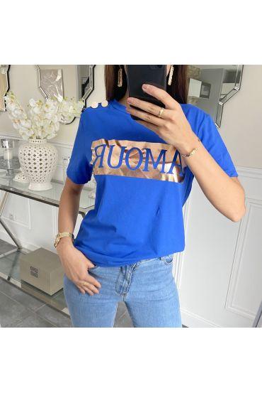 T-SHIRT HAS BUTTONS LOVE 5231 ROYAL BLUE