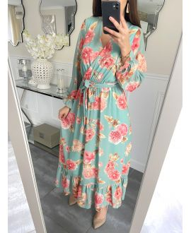 LONG DRESS FLORAL 5254 GREEN