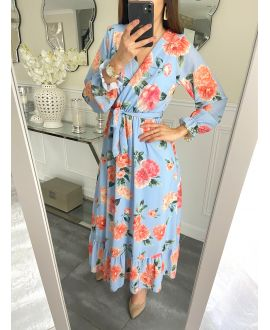LONG DRESS FLORAL 5254 BLUE