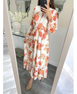 LONG DRESS FLORAL 5254 WHITE
