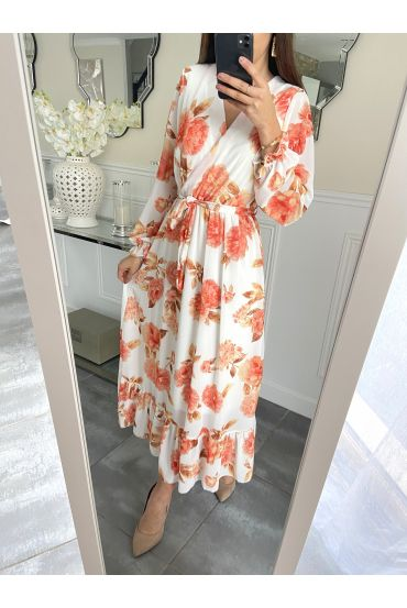LONG DRESS FLORAL 5254 WHITE