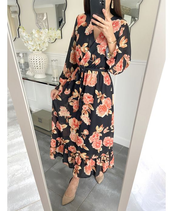 LONG DRESS FLORAL 5254 BLACK