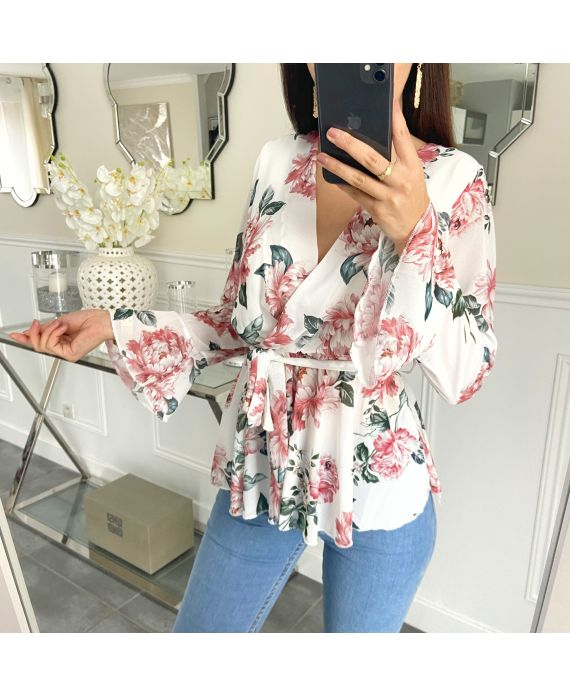 TUNIC FLORAL HAS BUILD 5253 WHITE