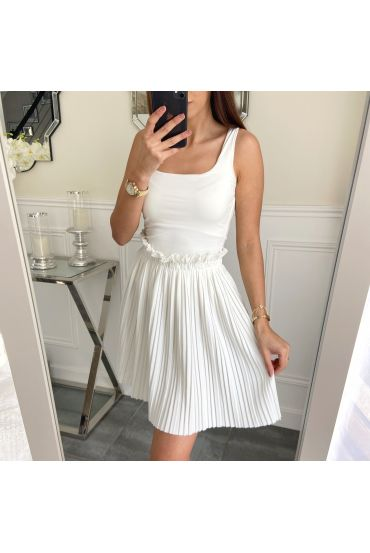 SHORT SKIRT WITH PLEATS 5236 WHITE