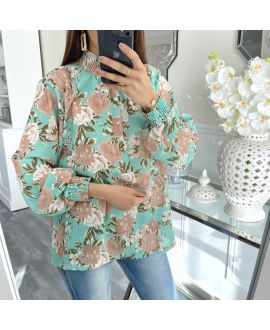 BLOUSE COLLAR ELASTIC 5411 PASTEL GREEN