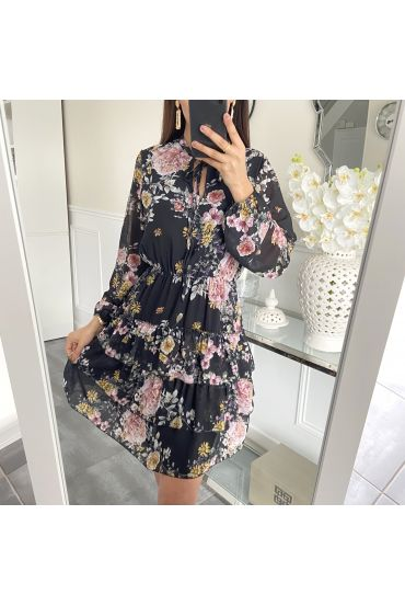 DRESS FLOWER SUPERPOSEE 5413NOIR