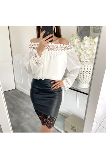 PACK 4 SKIRTS FAUX LEATHER LACE UP S-M-L-XL 5405 BLACK