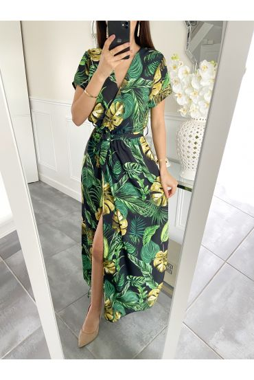 DRESS LONG TROPICAL 5414 BLACK