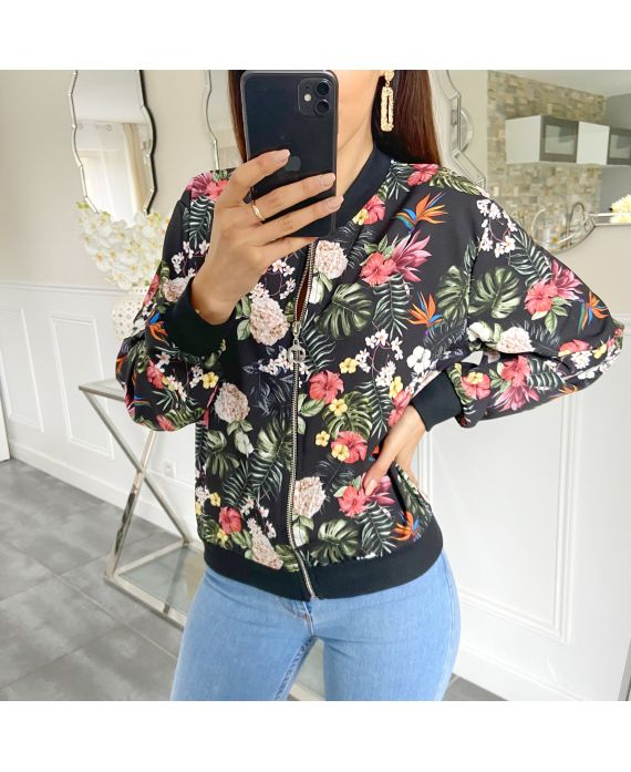 BOMBER JACKET FLOWER 5419 BLACK