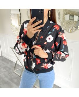 BOMBER JACKET FLOWER 5421 BLACK