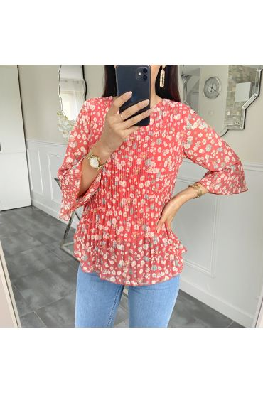 BLOUSE PLISSEE FLOWER 5424 ROUGE