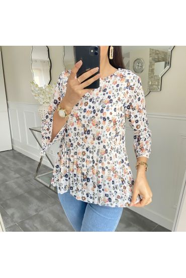 BLOUSE PLEATS FLOWER 5424 WHITE