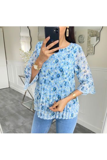 BLOUSE PLEATS FLOWER 5424 BLUE