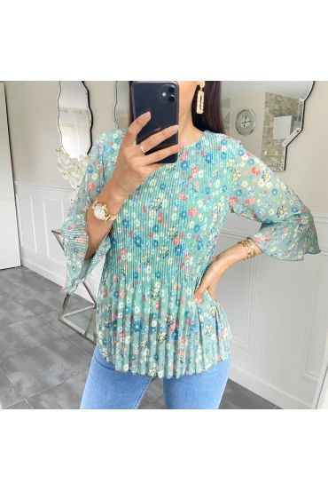 BLOUSE PLEATS FLOWER 5424 GREEN