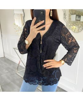 LACE TOP ZIP 5422 BLACK