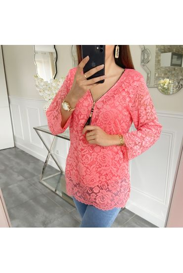 LACE TOP ZIP 5422 CORAL