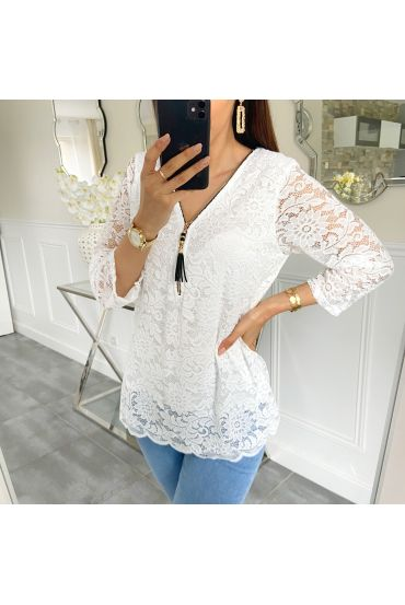LACE TOP ZIP 5422 WHITE