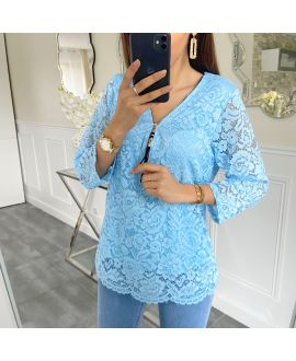LACE TOP ZIP 5422 BLUE