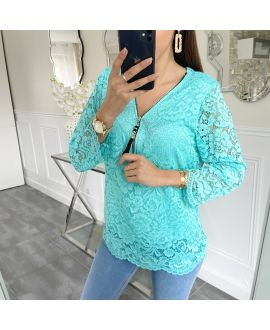 LACE TOP ZIP 5422 PASTEL GREEN