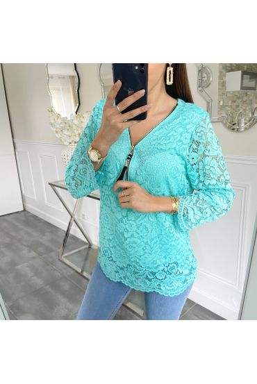 LACE TOP ZIP 5422 PASTEL GROEN