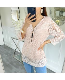 LACE TOP ZIP 5422 ROSE
