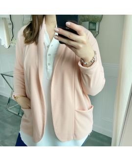 LARGE SIZE JACKET BLAZER POCKETS 5439 PINK