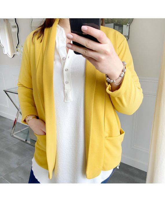 LARGE SIZE JACKET BLAZER POCKETS 5439 YELLOW