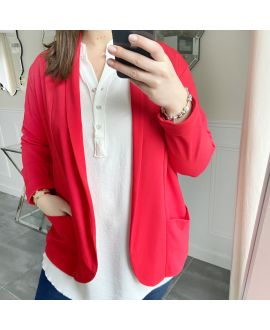 LARGE SIZE JACKET BLAZER POCKETS 5439 RED